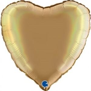 Balão Coração Platina 46cm Champanhe