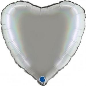 Balão Coração Platina 46cm Pure