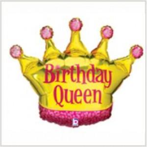 Balão foil Coroa Birthday Queen 91cm