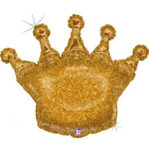 Balão Coroa Ouro Glitter 91cm
