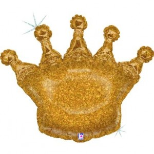 Balão Coroa Ouro Glitter 91cm Grabo