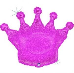 Balão Coroa Rosa Glitter 91cm