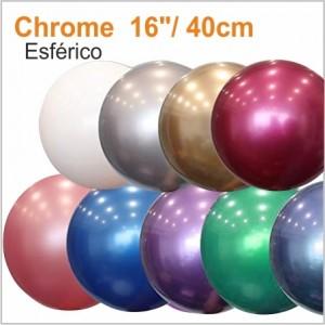 10 Balões Cromados Esférico 40cm