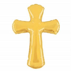 Balão Foil Cruz Dourada 112cm