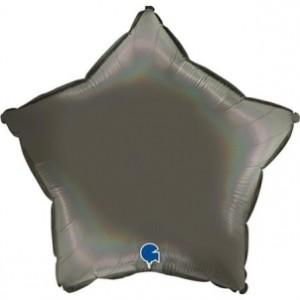 Balão Estrela Platina 46cm Cinza