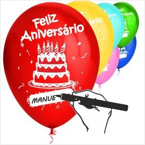10 Balões Feliz Aniversário Adição Nomes
