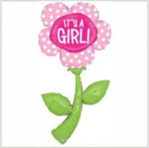 Balão foil Flor Gigante It`s a Girl 150cm