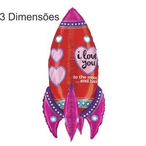 Balão Foguete LOVE 3D 91cm Grabo