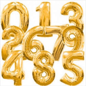 Balões Números Foil 38cm Dourado