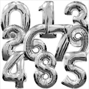 Balões Números Foil 38cm Prateados