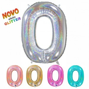 Balão Número 0 GLITTER 100cm