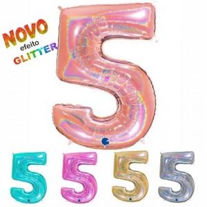 Balão Número 5 GLITTER 100cm