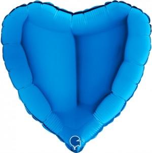 Coração Foil 45cm Azul Grabo