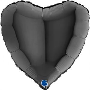 Coração Foil 45cm Preto Grabo