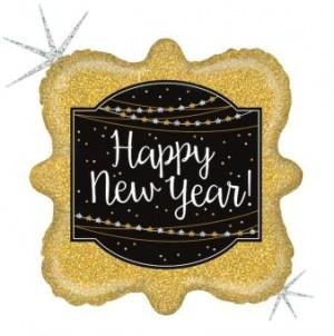 Balão Foil Quadrado Happy New Year (Glitter) 46cm