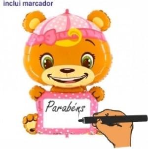 Balão Urso Rosa p/ Personalizar 110cm