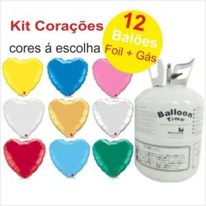 Kit Gás Hélio com 12 Balões Coração Foil