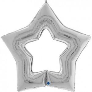 """Balão Foil Estrela Linky Star Prata 48"""" 122cm"""