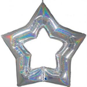 """Balão Foil Estrela Linky Glitter Prata 48"""" 122cm"""
