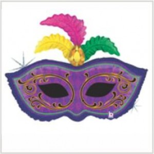 Balão foil Mascara c/ Pena Holographic 86cm Grabo