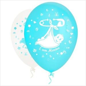 10 Balões É um Menino( Desenho 2 faces)