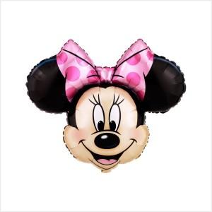 Minnie Foil Laço Rosa (Rosto 23cm)
