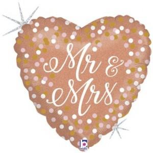 Balão Mr & Mrs Coração Rosa Gold 45cm