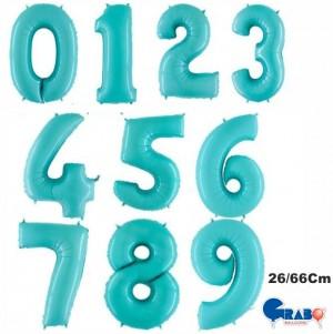 """Balões Numeros Azul Bébé 26""""/66cm Grabo"""
