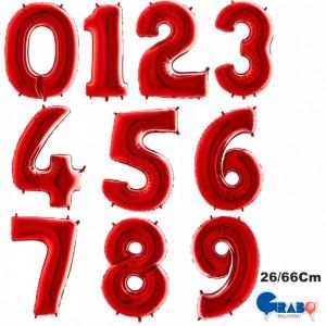 """Balões Numeros Vermelho 26""""/66cm Grabo"""
