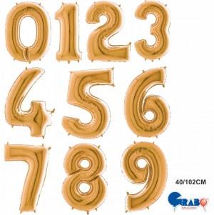 """Balões Numeros Ouro 40""""/102cm Grabo"""