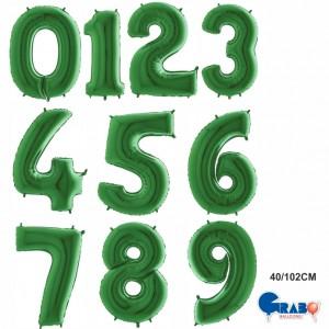 """Balões Numeros Verde 40""""/102cm Grabo"""