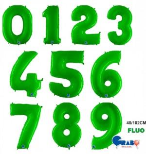 "Balões Numeros Verdes Fluo 40""/102cm Grabo"