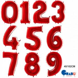 """Balões Numeros Vermelhos 40""""/102cm Grabo"""