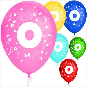 Balões Numero 0 Latex ( Desenho 2 faces) 10Un.