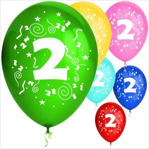 Balões Numero 2 Latex ( Desenho 2 faces) 10Un.
