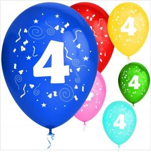 Balões Numero 4 Latex ( Desenho 2 faces) 10Un.