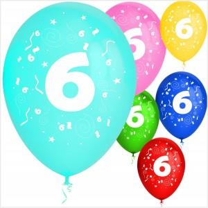 Balões Numero 6 Latex ( Desenho 2 faces) 10Un.
