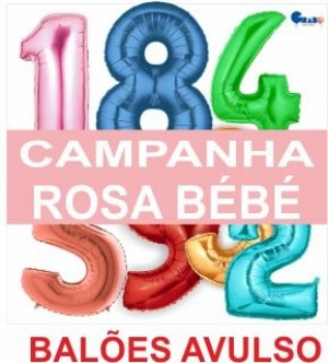5 Balões Números metro Rosa bébé