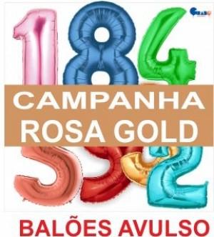 5 Balões Números metro Rosa Gold