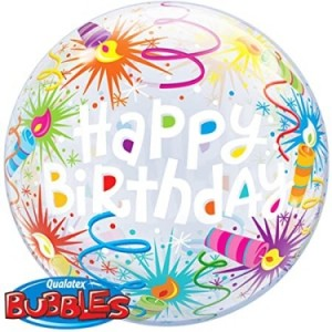 "Bubble Happy Birthday Serpentinas 22""56cm"