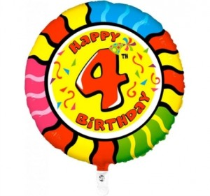 Balão 4º Aniversário redondo 53Cm