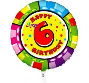 Balão 6º Aniversário redondo 53Cm