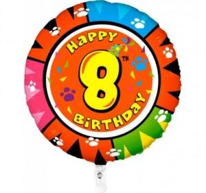 Balão 8º Aniversário redondo 53Cm
