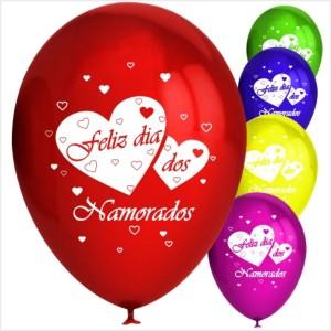 10 Balões Redondos Feliz dia Namorados (Desenho 2 faces)