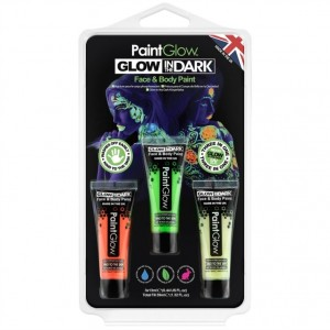 Kit 3 Tintas de Glow  Brilha no Escuro Facial e Corporal