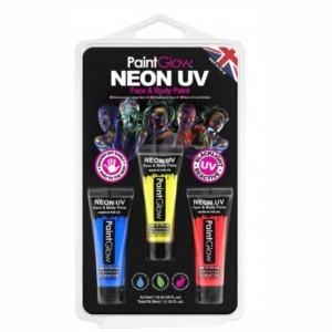 Kit 3 Tintas de Neon UV Facial e Corporal
