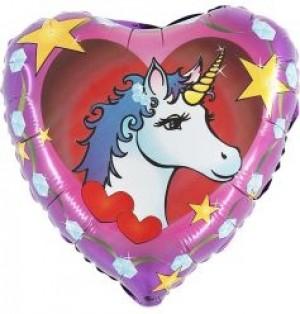 Balão Foil Coração Unicornio 45cm