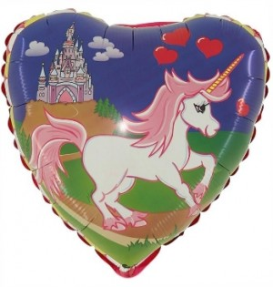 Balão Foil Coração Unicornio Castelo 45cm